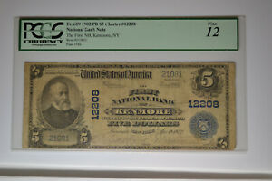 Kenmore, NY - $5 1902 Plain Back Fr. 609 The First NB Ch. # 12208.    PCGS F-12