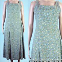 Vintage 80s Green floral Tie Back Swing Rockabilly garden day long Dress Sz M L