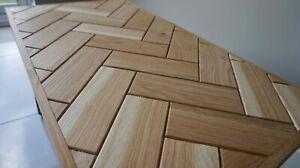 Oak Coffee / Accent Table Herringbone Design With Steel Hairpin Legs