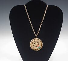 60's MIRIAM HASKELL LARGE ORIENTAL MEDALLION PENDANT WITH CHAIN NECKLACE SIGNED