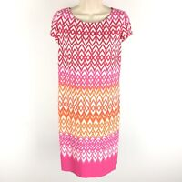 Jessica Howard Dress Sheath Stretch Pink Printed Cap Short Sleeve Size Medium