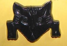 Vintage Black Cellulose Acetate Thermoset Plastic Kitty Cat Kitten Face Pin