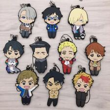 anime 10pcs full set Yuri on ice strap rubber Keychain KeyRing