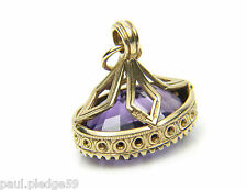 9ct 9Carat Yellow Gold Large Amethyst Detailed Fob Charm or Pendant