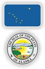 Flag Sticker Of Alaska State + Seal Bumper Stickers Decals usa Motorcycle Helmet