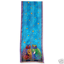 Laurel Burch 100% Silk Oblong Silk Scarf Teal Blue Purple Celestial Cats New