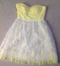 NWT~Minuet Organza Dress Yellow White Floral Lace Scalloped Overlay Strapless~M