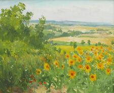 Paul Jean ANDERBOUHR tableau paysage campagne tournesols vallée du Loir été
