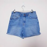Noisy May Womens Size S Small Blue Liv Straight Denim Jean Shorts Rolled Cuffs