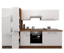 Küchenzeile mit Elektrogeräten Küchenblock Einbau Küche E-Geräte 300 cm weiss
