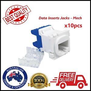 10 x RJ45 Keystone Jack Clipsal compatible AU SELLER CAT5e Data Jack Mech