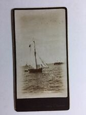 Victorian Carte De Visite CDV Photo - Sail Boat On Sea - Christmas Greeting