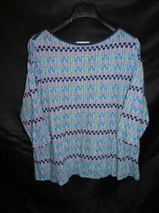 Liz Claiborne 2X Blue White Print T Shirt 3/4 Sleeve Boat Neck Soft Cotton Modal