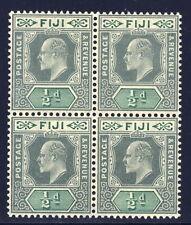 Fiji 70 block of 4, green & pale green - mnh 1/2 penny Edward VII
