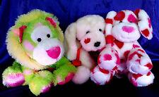Sugar Loaf Lion OR Build a Bear White & Pink OR Valentine Dog  Red Collar