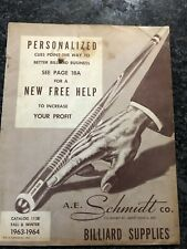 Vintage A E Schmidt Pool Billiards Catalog From 1963