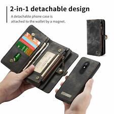 LG Stylo 4 Wallet Case Leather Flip Zipper Purse Magnetic Detachable Cover Black