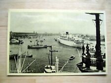 """OLD PPC: AMSTERDAM~'t IJ~HARBOUR VIEW~1950's~HMS """"ORANJE"""" AND VARIOUS SHIPS"""