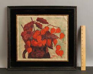 Signed Mid-Century Woodblock Print, CHINESE LANTERN Flower, Eglomise Mat Frame