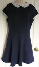 Primark ATMOSPHERE Skater Style Short Dress Navy Blue & Cream Lace Collar S14 EC