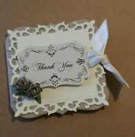 Hand crafted vintage Ivory roses'Thank you'gift note cards.20,50,100.