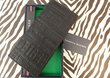 Tommy Hilfiger Tall Booklet Travel Wallet Black Logo Leather Coin Wallets Boxed
