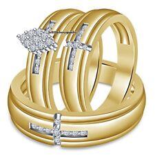 His Her Yellow Gold Finish Diamond Wedding Band Trio Bridal Engagement Ring Set