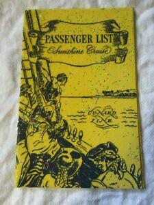 Lot57 - 1950s SUNSHINE CRUISE Empty Passenger List (Yellow) CUNARD LINE