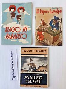3 libri per bambini d'epoca la scuola editrice favole storie a colori anni 40 50