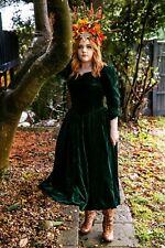 Vintage dark green velvet Laura Ashley dress