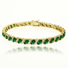 Simulated Emerald Tennis Bracelet with White Topaz Accents in Gold Plated Silver