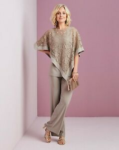 Nightingales NWT UK size 22 beige loose fit 3 piece set full cape outfit *