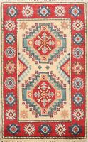 Geometric IVORY/ RED Super Kazak Oriental Area Rug Hand-Knotted Wool Carpet 2x3