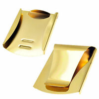 Mens Gold Steel Slim Double Sided Money Clip Credit Card ID Card Holder Wallet