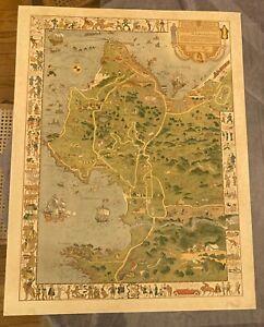 Orig 1926 JO MORA Monterey Carmel Pebble Beach California Pictorial Illus. Map