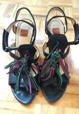 Hugo Boss strappy leather black w/ tassels leather high heels sandals shoes 38 8