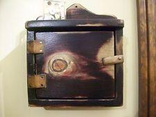 Primitive Wood Thermostat  Control Cover Cabinet Box Shelf