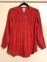SOFT SURROUNDINGS Women's PXS Woven Peplum Blouse Button Up Long Sleeve Pleated