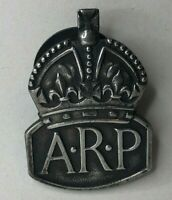 WW2 Home front ARP Air Raid Protection Silver lapel Badge London 1936 hallmark