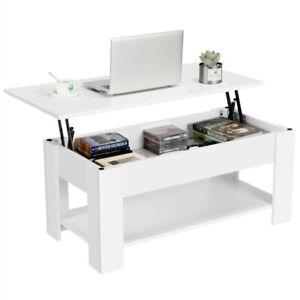 Table Basse Table de Salon à Café Plateau Relevable Compartiment Moderne Blanche
