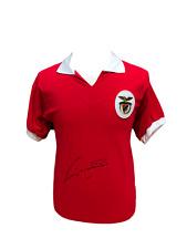 EUSEBIO SIGNED BENFICA FOOTBALL SHIRT + COA & PROOF PORTUGAL FOOTBALL SOCCER