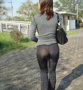 Fashion Women Long Sheer Pants See-Through Casual Leggings  Flare Leg
