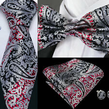 USA Gray Black Red Paisley Silk Men Tie Ties Pre-tied Bow tie Set Lot Adjustable