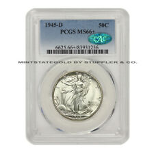 1945-D 50c Silver Walking Liberty PCGS MS66+ CAC certified Half Dollar gem coin