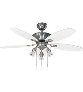 """CANARM LEXINGTON 42"""" INDOOR CEILING FAN IN BRUSHED PEWTER W/WHITE/WALNUT BLADES"""