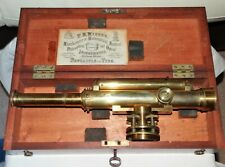 """ANTIQUE BRASS THEODOLITE,MAHOGANY LOCKING FITTED CASE,SIGNED """"CUILS"""" NEWCASTLE."""
