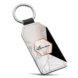 Personalised Marble Name Initial Leather Keyring - 65