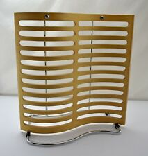 Birch Wooden and Chrome Table Top CD Rack - Modern Curved Design