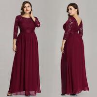 Ever-Pretty Plus Size Long Bridesmaid Dresses Lace Sleeve Party Dress Burgundy