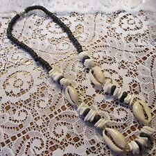 Vintage Natural Seashell Glass Black Hand Made Beads Necklace Jewelry 17 3/8 in